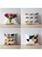 Tezkotekstil Renkli Fil 4'Lü Kombin Dekoratif Yastık Kırlent Kılıfı Renkli